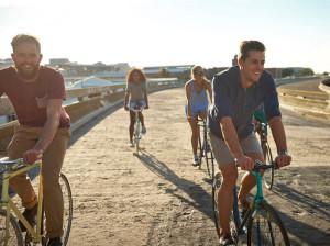 Four friends enjoying a bike trip.