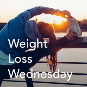 Weight Loss Wednesday Thumbnail showing a woman stretching her leg.