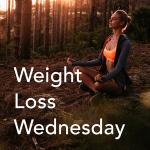 Weight Loss Wednesday Thumbnail. woman meditating