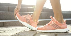 Pink adidas shoe.