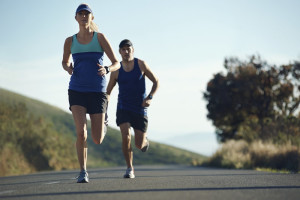 A couple is preparing for the marathon.