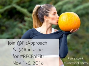 Fitness Coach Lunden is kissing a pumpkin.