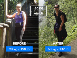 Before and After picture of a young woman after she lost 66lb.