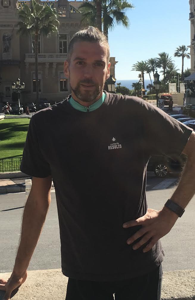 Man in Runtastic shirt posing in Monaco