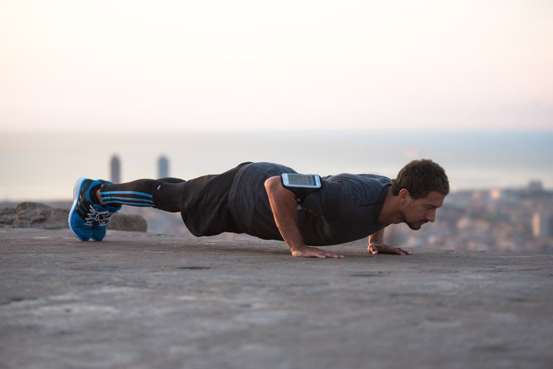 Young man doing a plank