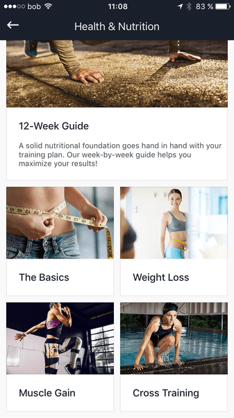 Screenshot of the Runtastic Results Nutrition Guide.