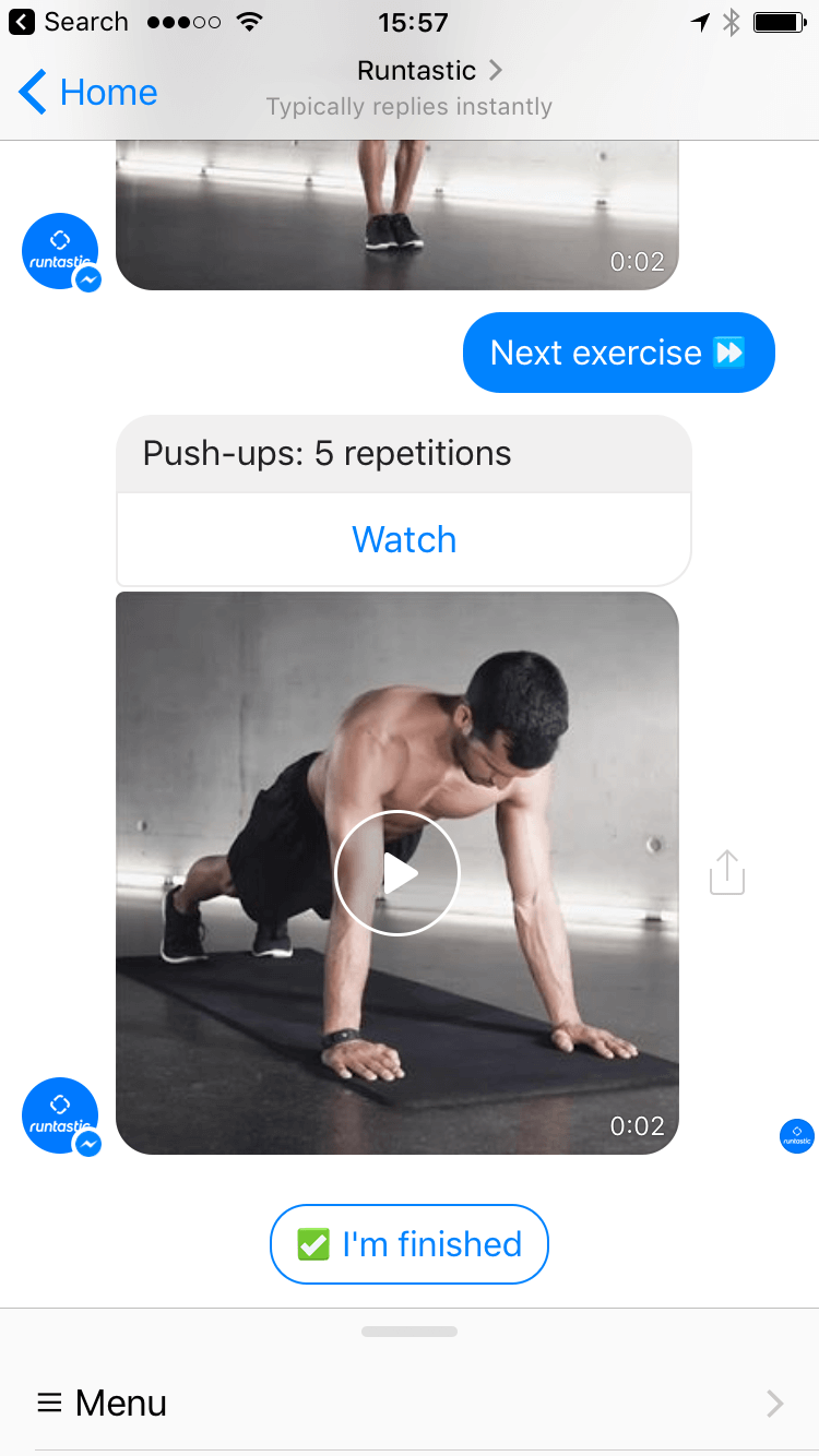 Runtastic Fitness Bot in the Facebook Messenger