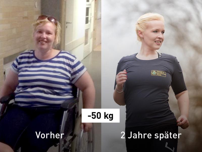 Eine junge Frau verliert 50 kg.