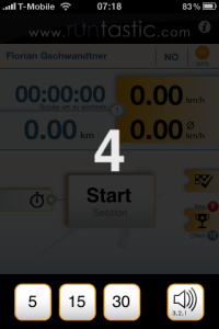 Countdown feature – iPhone App runtastic