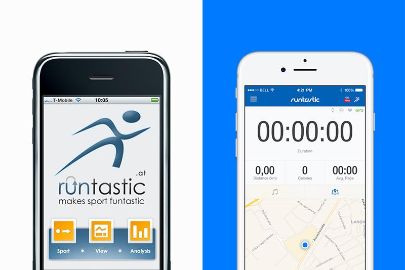 Runtastic App Damals und Heute.
