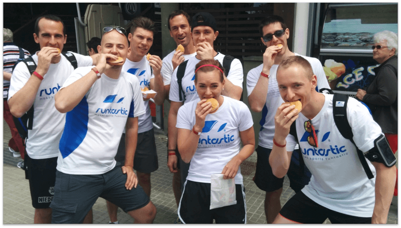 Runtastic employees eating a sandwich.