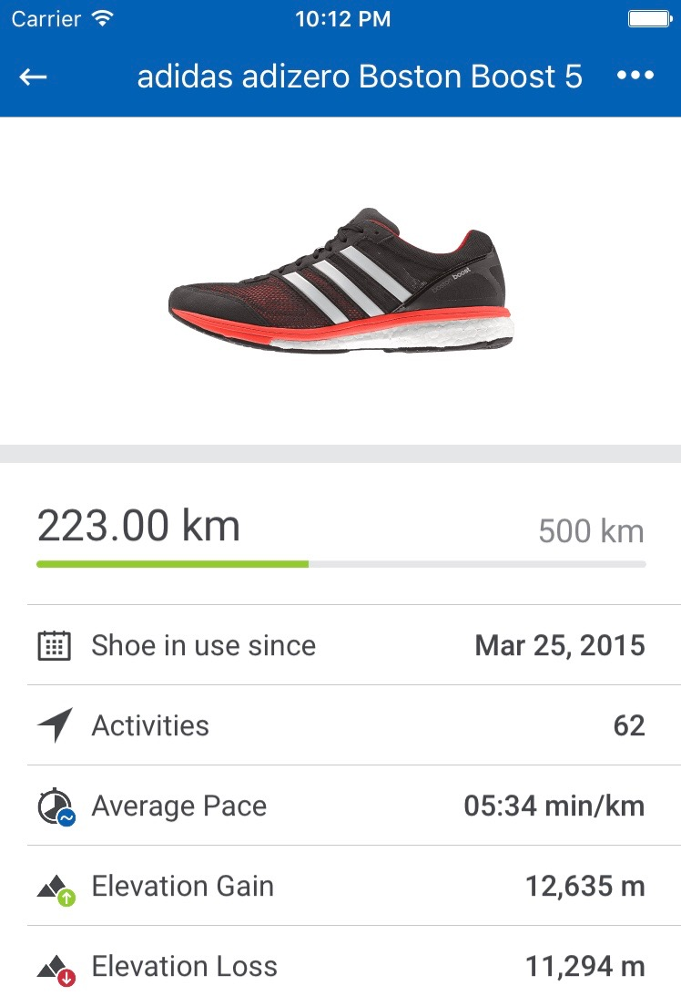 Screenshot of Runtastic Shoe Tracking feature