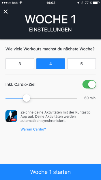 Screenshot vom cardio goal set up in der Runtastic Results App.