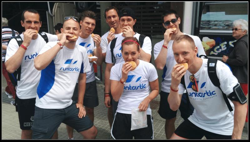 Runtastic employees eating a sandwich.
