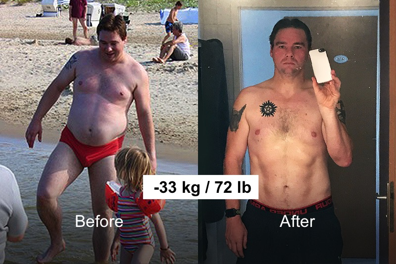 a guy who has lost 33 kg/72 lb