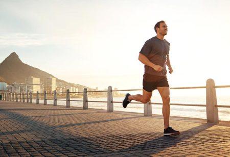 Young man running in Rio de Janeiro.