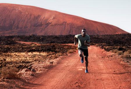 Man running in the desert