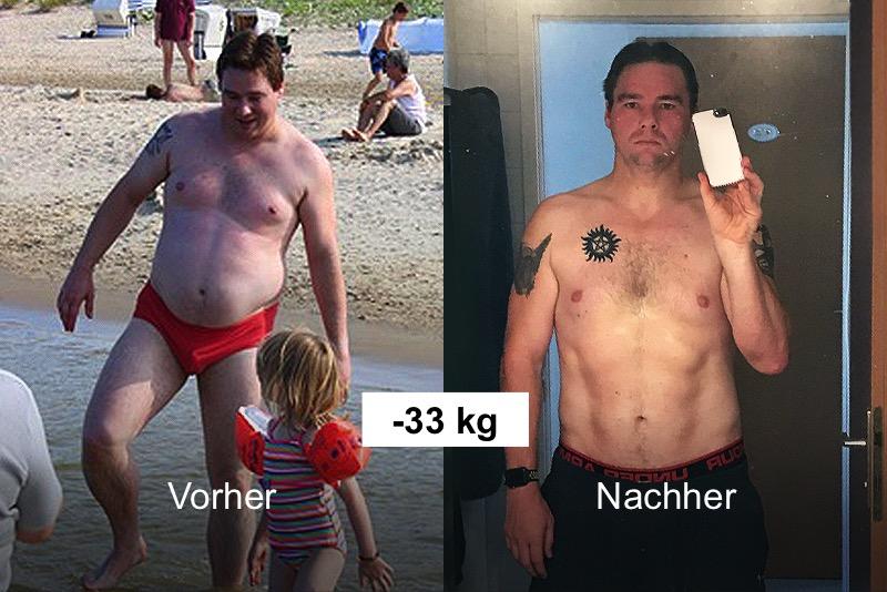 ein Mann hat 33 kg abgenommen