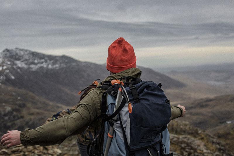 A man hiking