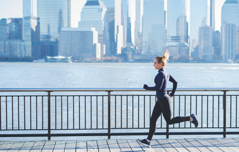 A woman running in New York City