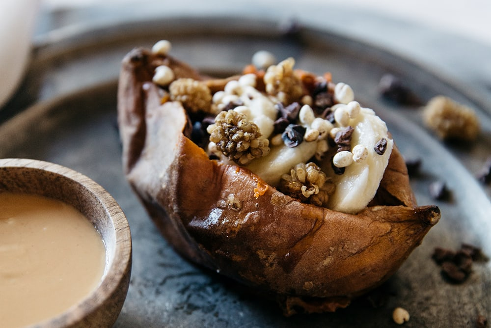 stuffed sweet potato with bananas