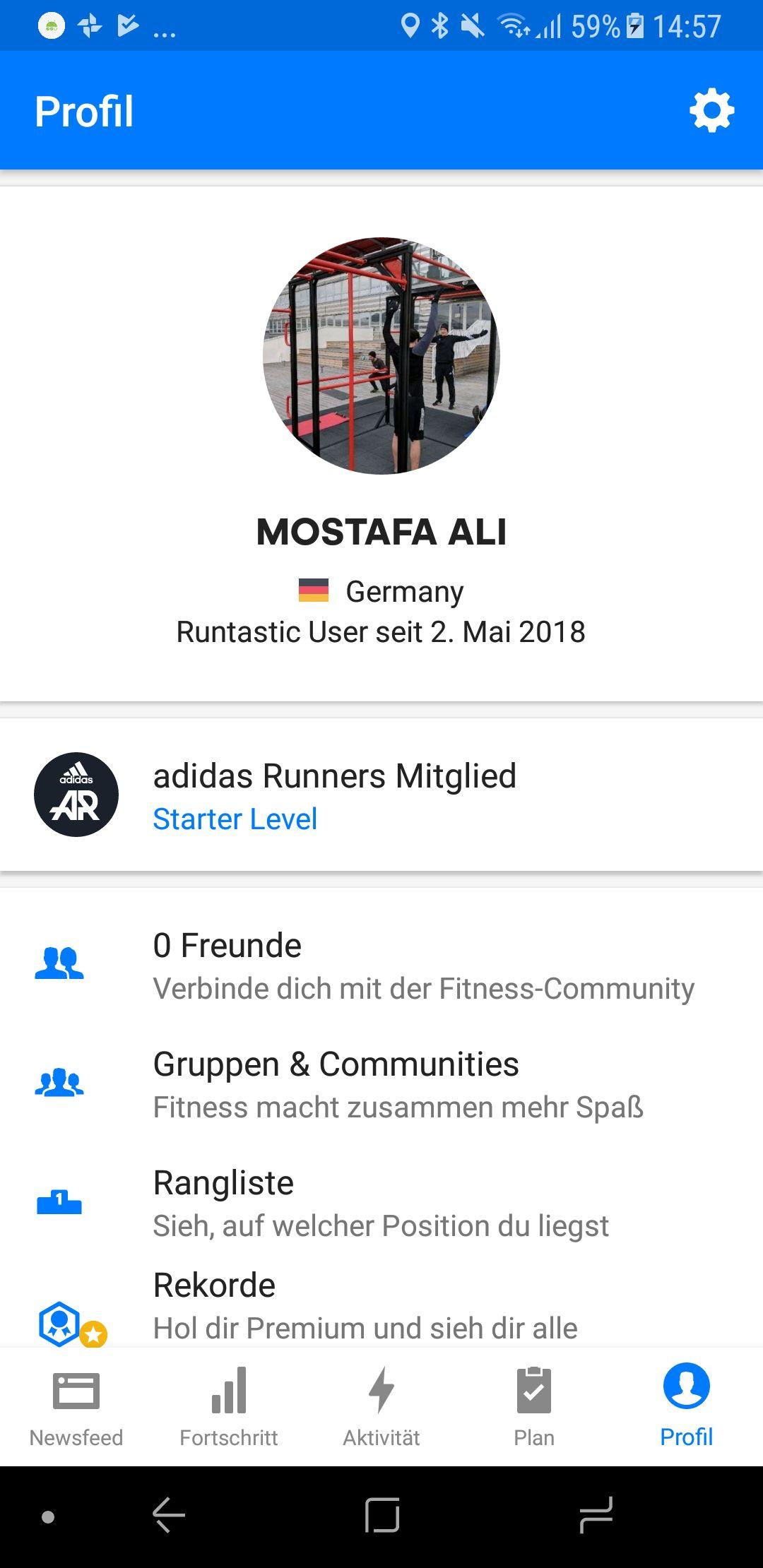 addias Runners Runtastic App Profil