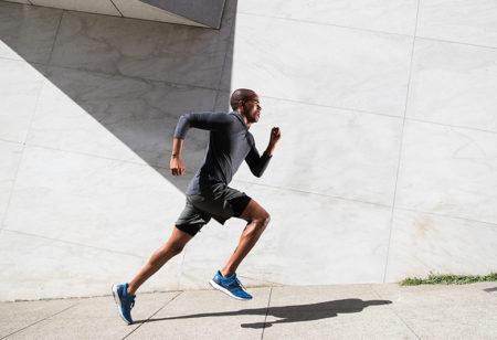 A man running outside