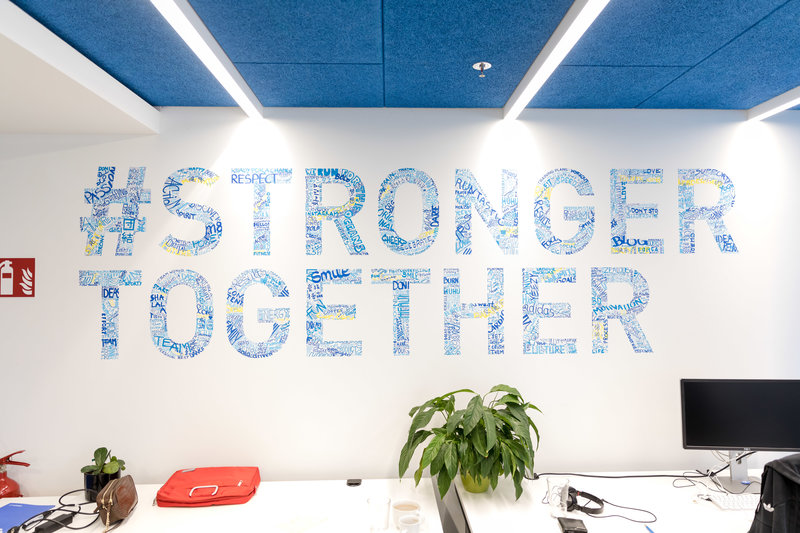 Stronger together sign in the Runtastic headquarter