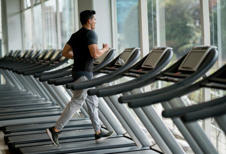 A man running on a treadmill