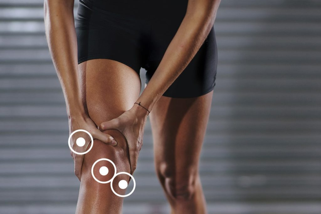 Different location of knee pain graphic