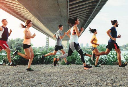 People running a half marathon