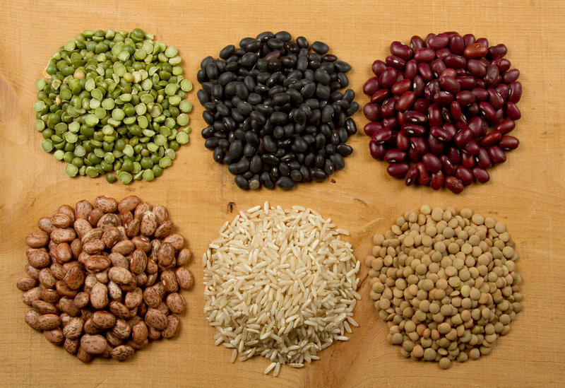 Different kinds of legumes on a table.