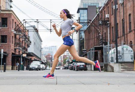 Woman running through the city