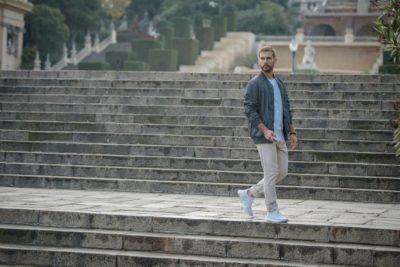 Man walking down the stairs
