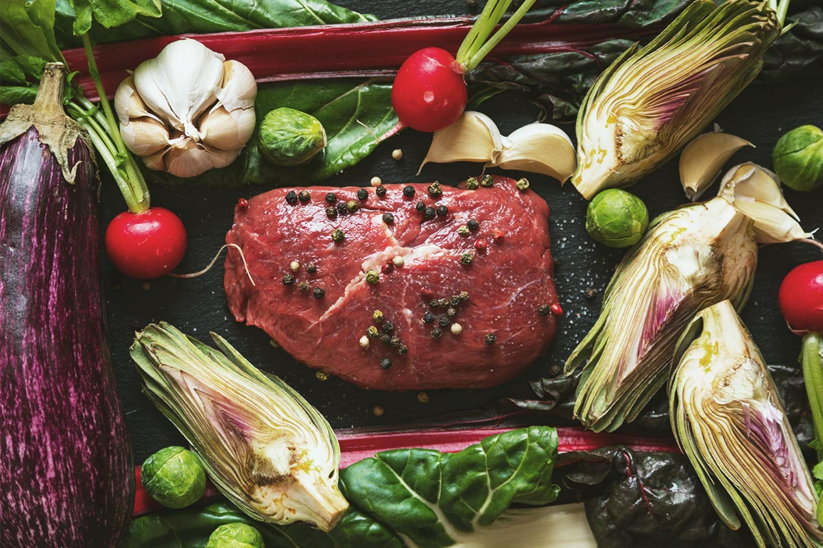 Meat and vegetables for the ketogenic diet