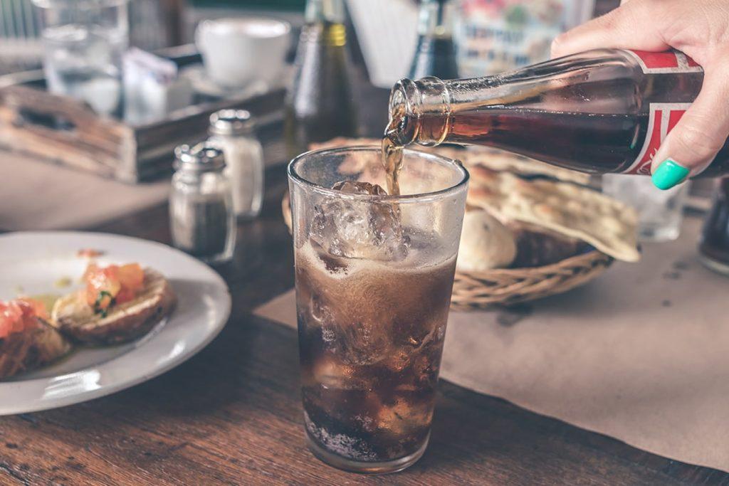 Diet soda in a glass