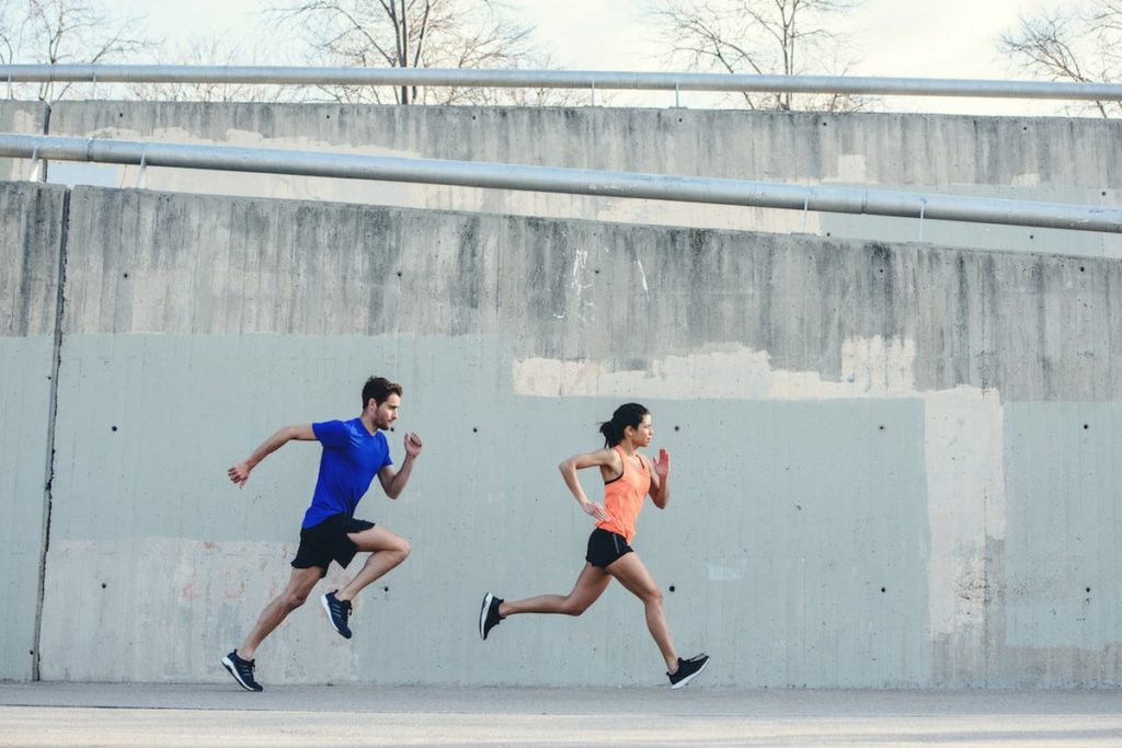 Two people running a race