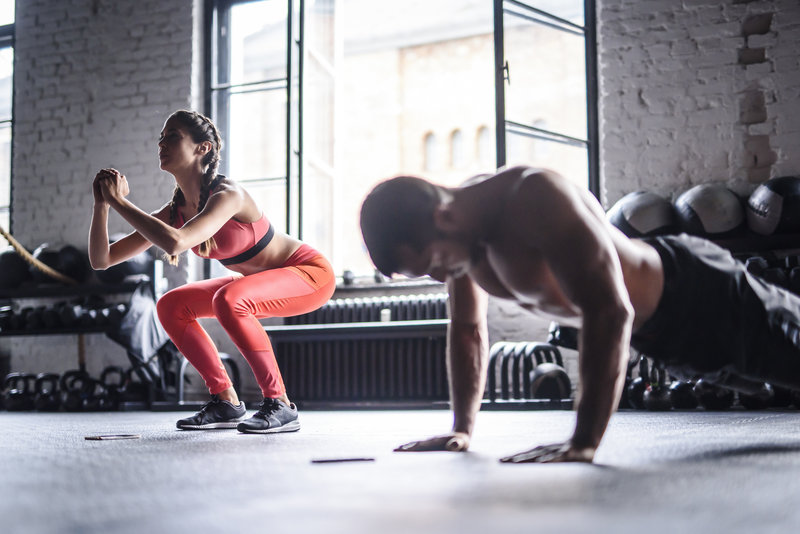 Young couple doing a workout together.
