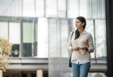 Woman walking around the city