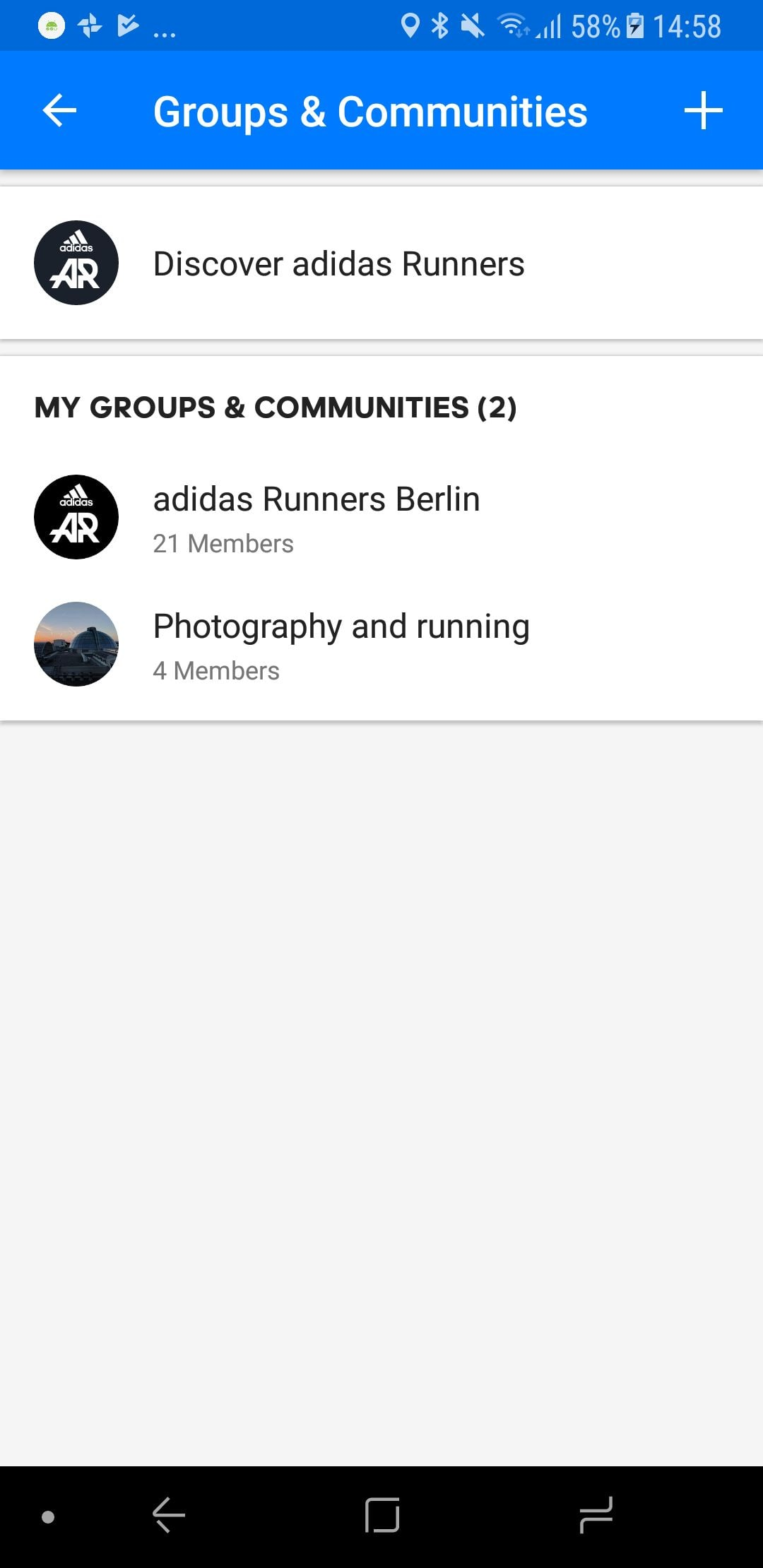 adidas Runners in Runtastic App groups