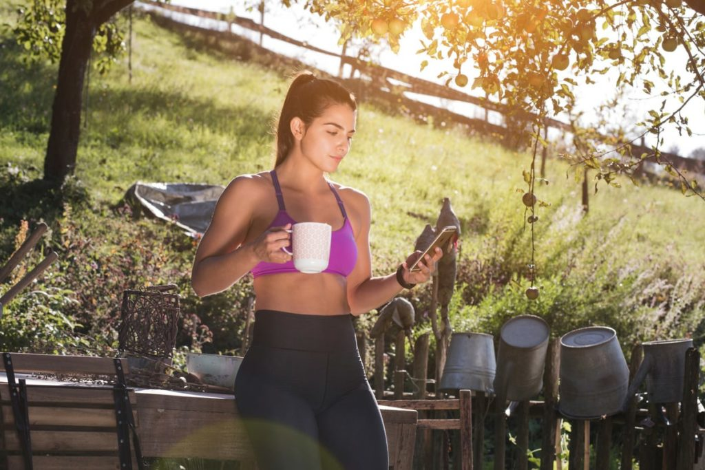 Woman drinking coffee outdoor