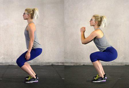 Woman doing a proper squat