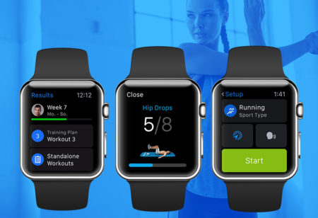 The apple watch showing different Runtastic apps