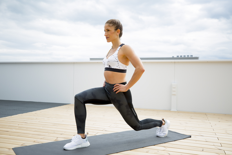 Woman is doing a lunge
