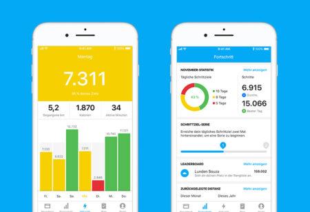 Screenshots von der Runtastic Steps App