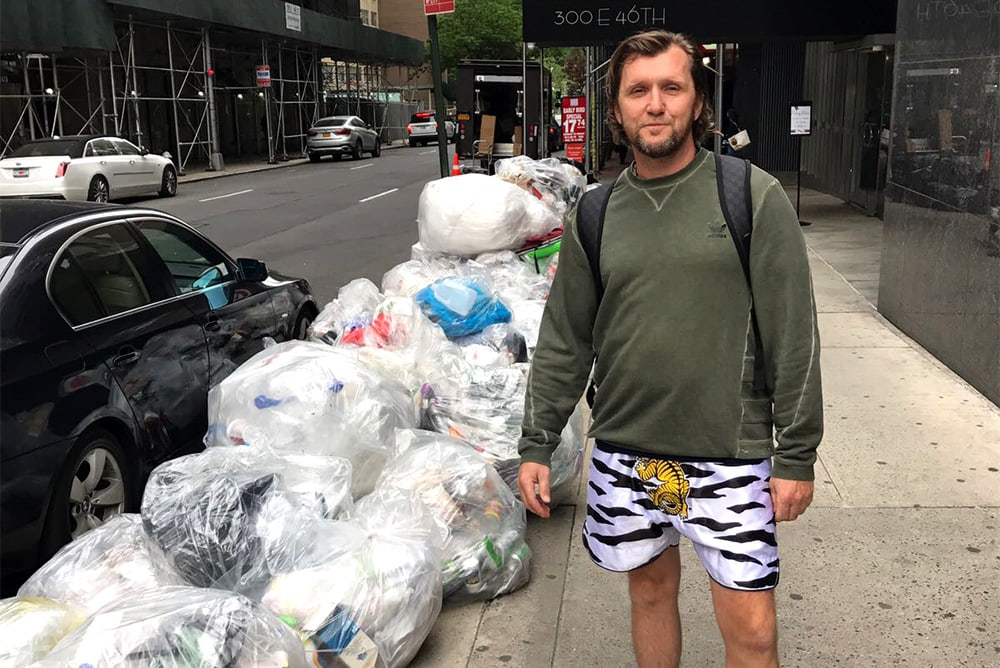 Piles of plastic on the streets of New York