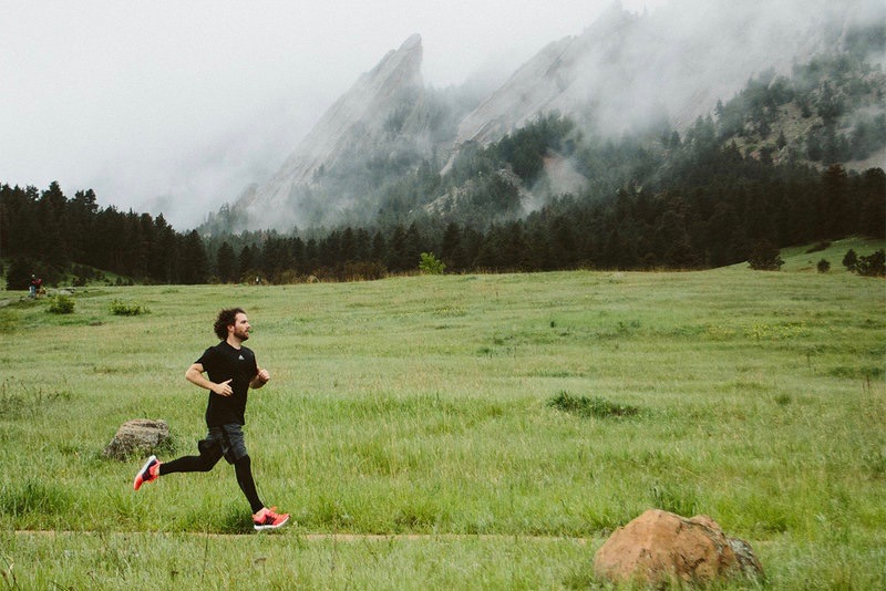 A man is running in nature