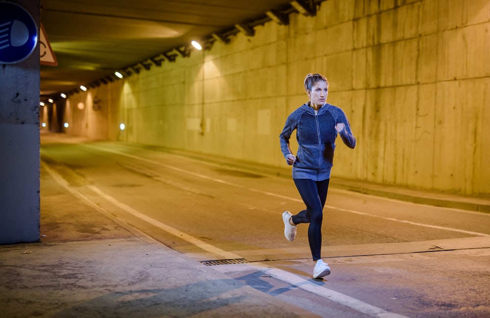Woman running intervals