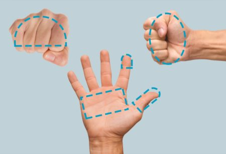 Portion sizes shown with hands