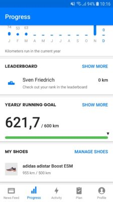 Yearly running goal feature